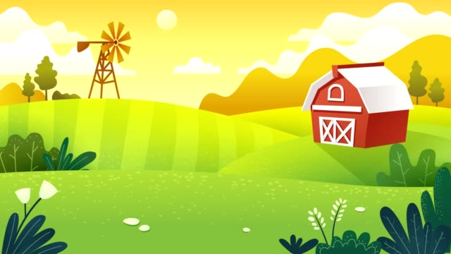 Farm fields Footage and animation. Farm fields in minimal and flat art work style barns stock videos & royalty-free footage