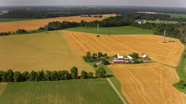 antenne ein bauernhof in der sonnigen landschaft - pennsylvania stock-videos und b-roll-filmmaterial