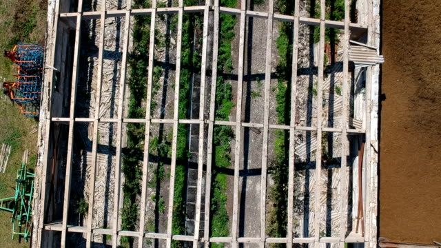 en gård med ett förstört växthus och en flock duvor som flyger över den - roof farm bildbanksvideor och videomaterial från bakom kulisserna