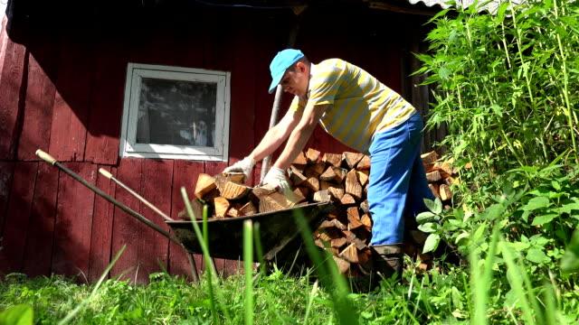 çiftlik işçisi adam çocuğu yakacak odun ahşap paslı barrow sepeti boşalt. fullhd - şömine odunu stok videoları ve detay görüntü çekimi