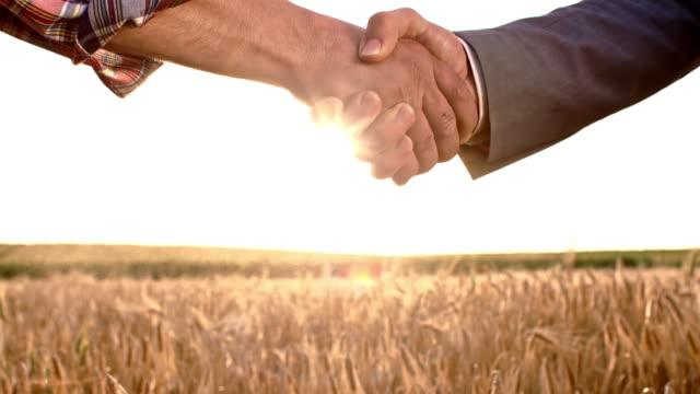 SLO MO agriculteur et homme d'affaires, se serrant la main poussiéreux - Vidéo