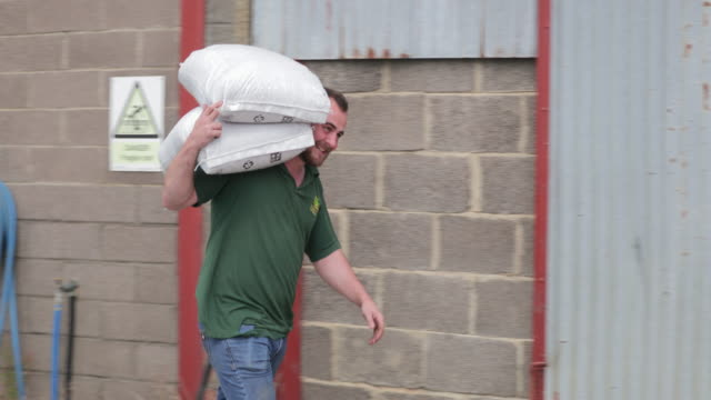 Farmer Carrying Farming Bags A side-view shot of a young caucasian male farmer, he is carrying a large sack on his shoulders. real life stock videos & royalty-free footage