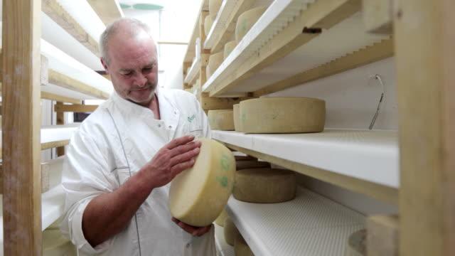 Farmer Checking Drying Cheese Wheels on Dairy Farm video