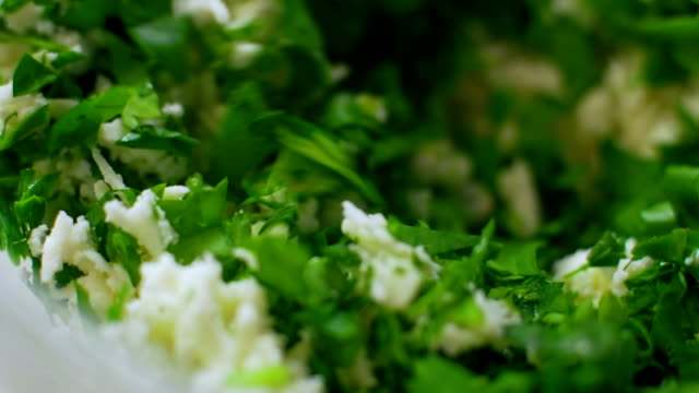 Farmer cottage cheese with green onion and dill Farmer cottage cheese with green onion and dill garnish stock videos & royalty-free footage