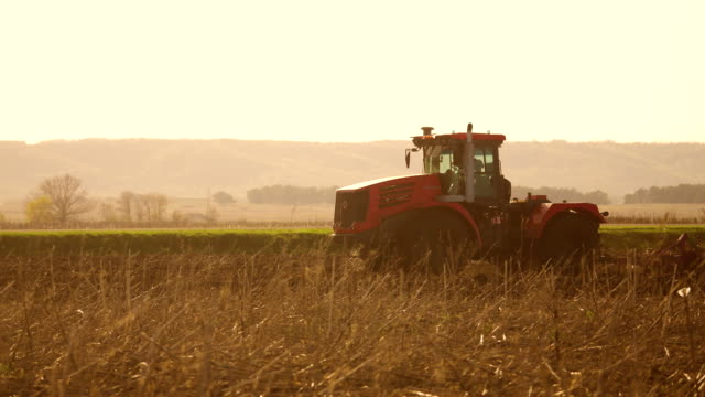 Farmer in tractor Russia agriculture soil ground preparing land with seedbed cultivator as part of pre seeding activities in early spring season of agricultural works at lifestyle farmlands - vídeo