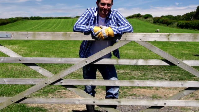 HD CRANE: Farmer leaning on gate of field (Farm Agriculture) video