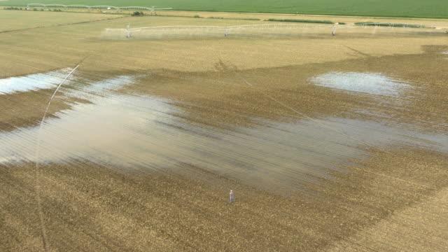 AERIAL Farmer looking at devastated field video