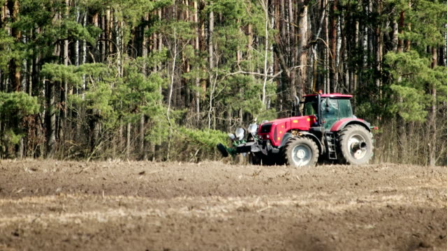 A farmer on a tractor with a plow turns around, lowering metal blades into the ground that glistens in the sun, spring plowing, agribusiness A red tractor with a trailing plow makes a u-turn on the field, going to plow the land, agriculture, preparing virgin land for planting. Agribusiness agricultural occupation stock videos & royalty-free footage
