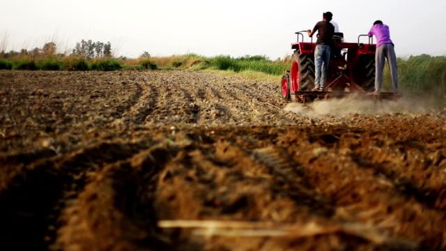 Farmer plowing field Farmer plowing field during summer season for next crop plantation. haryana stock videos & royalty-free footage