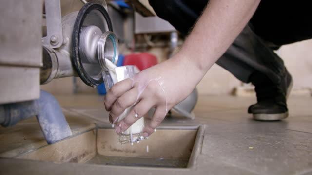 ms farmer pouring milk into a glass - lattaio video stock e b–roll