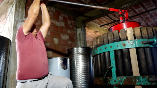 Farmer pressing grapes- Making homemade wine in South of Italy video