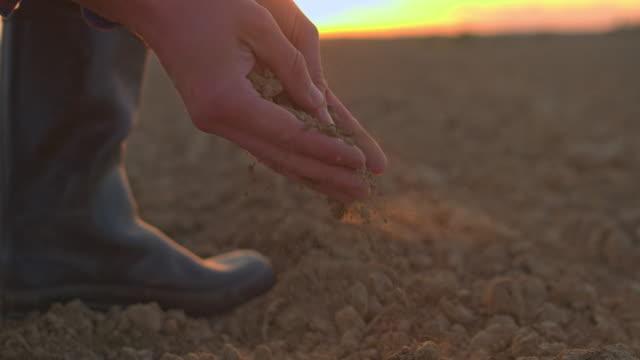 vídeos de stock e filmes b-roll de cu farmer scooping and examining dirt in rural,plowed field at sunset - terra cultivada