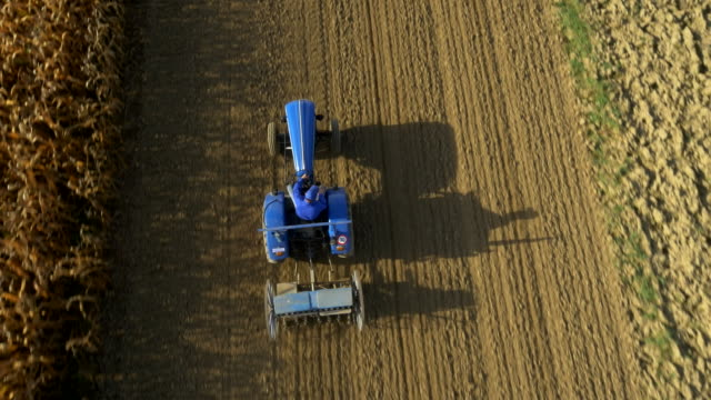 AERIAL Farmer Sowing The Field video