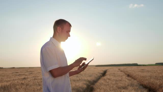 vídeos de stock e filmes b-roll de farmer using digital tablet - weatherman