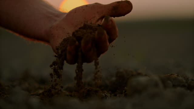 vídeos de stock e filmes b-roll de slo mo farmer's hand scooping dirt on a field at sunset - hand