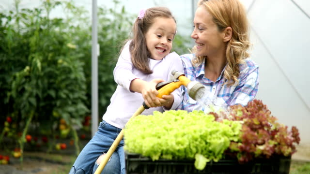 Farming, gardening, agriculture and people concept. Happy mother and her daughter working at greenhouse Farming, gardening, agriculture and people concept. Happy mother and her daughter having fun and working at greenhouse horticulture stock videos & royalty-free footage