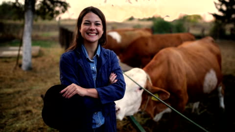 çiftçilik bir işten daha fazlasıdır. - dişiler stok videoları ve detay görüntü çekimi