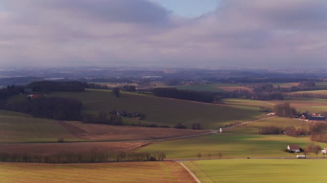 Farms and Fields Near Herford, Germany - Aerial View video