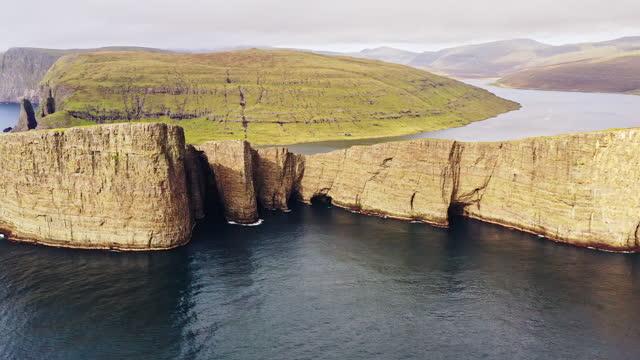 Faroe Islands Sorvagsvatn Lake Tr'lanípa Cliff Drone Flight Vagar Island 4K