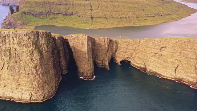 Faroe Islands Tr'lanípa Sorvagsvatn Lake Drone Flight Vagar Island 4K