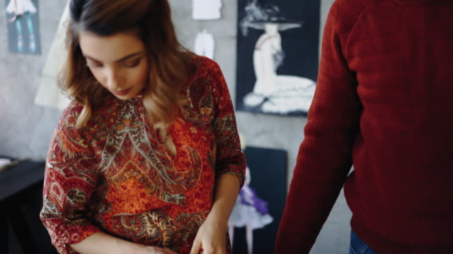 fashion designer on meeting with customer in her studio - serbia video stock e b–roll