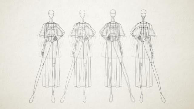 fashion doll - semplice - animazione di uno stand di vestiti manichino - sfilata video stock e b–roll