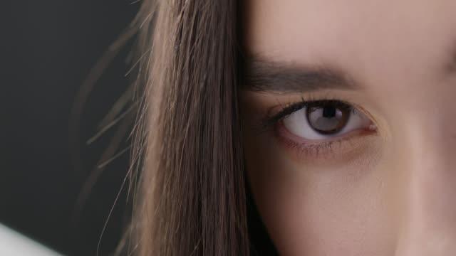 Fashion Model close up. Fashionable video. Slow motion.