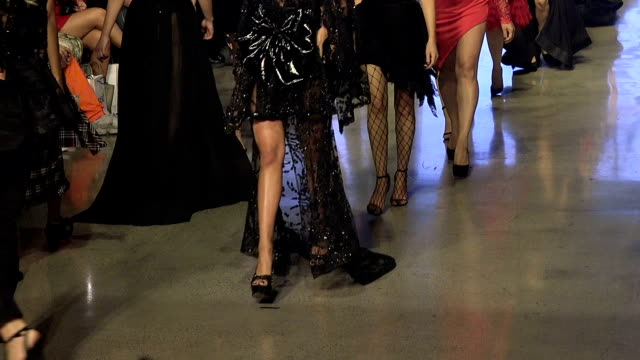 Fashion models walking on the runway