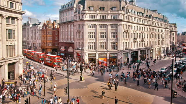 Fashion Street, Luftbild, Berühmter Ort, Kreuzung. London – Video
