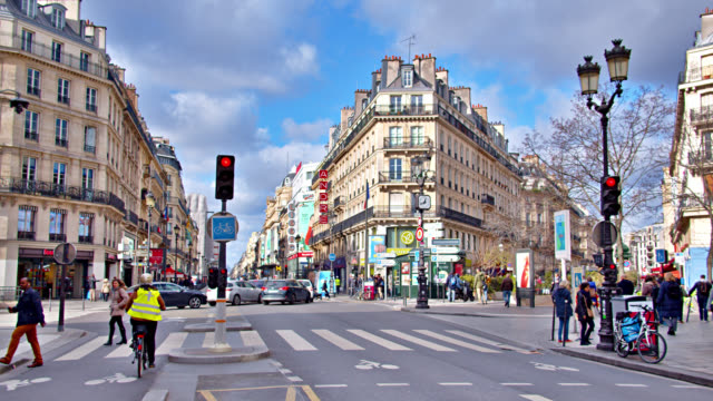 Fashion Street in Paris. Intersection. People Walk By. Street Light. Modern City.