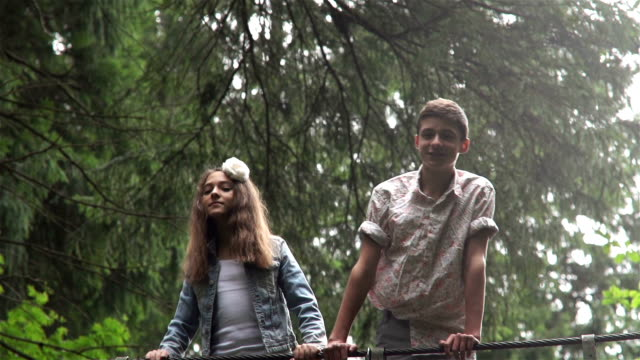 Fashion Teens On The Bridge In A Forest video