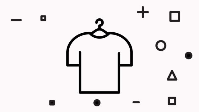 vídeos de stock e filmes b-roll de fashion textile icon animation footage & alpha channel - teeshirt template
