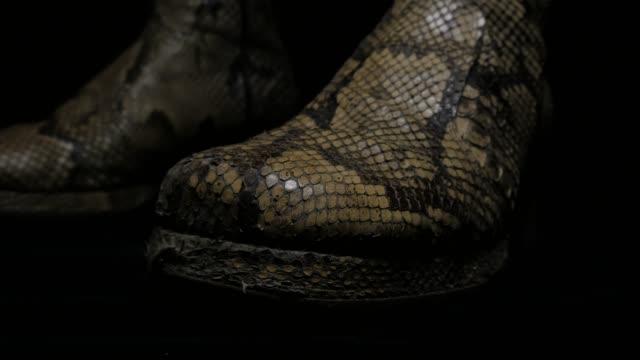 stockvideo's en b-roll-footage met fashion week muziek ster laarzen - dierenhuid huid