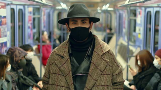 Fashionable Guy Subway Metro. Coronavirus Mask. Hipster Model. Style Covid-19. video