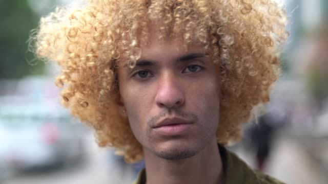 Fashionable Men With Curly Hair Portrait Stock Video More Clips Of