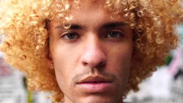 Fashionable Men with Curly Hair Portrait Alternative Lifestyle individuality stock videos & royalty-free footage