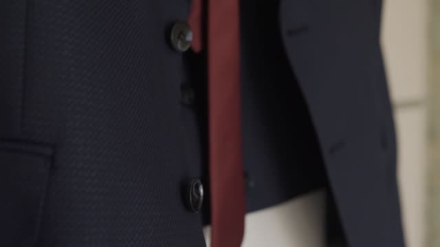 fashionable stylish jacket with tie close-up - жакет стоковые видео и кадры b-roll