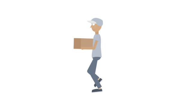 Fast delivery. Animation of a running delivery man with a parcel. Cartoon