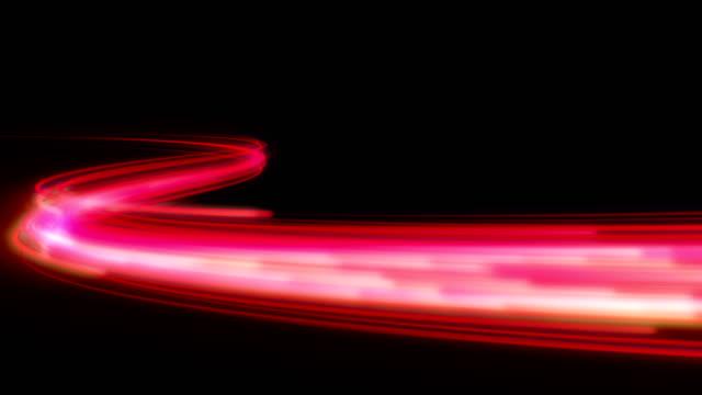 vídeos de stock, filmes e b-roll de energia rápida linha de onda com luzes piscam a voar. - light trail