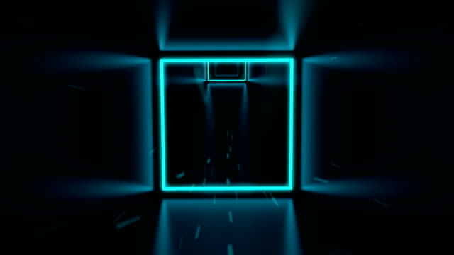 Fast flying through 3D cyan cube neon tunnel Very fast rotating flying through cyan cube tunnel and glowing neon squares. 3D camera moving fast and blue particles fly towards, seamless loop animation. light effect stock videos & royalty-free footage