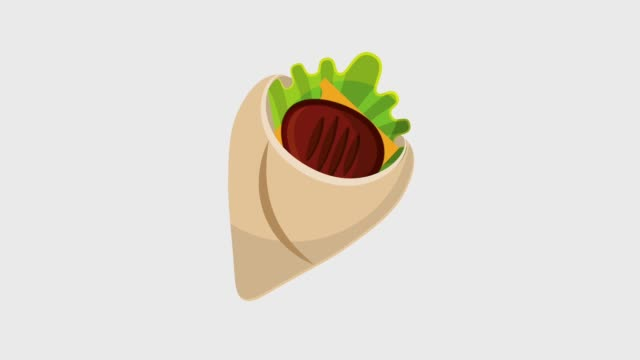 fast food wrap with meat lettuce - clip art video stock e b–roll