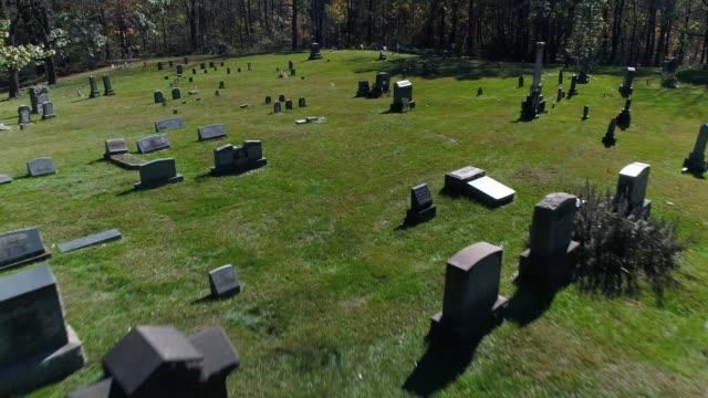 Fast Forward Flyover Gravestones in Cemetery video