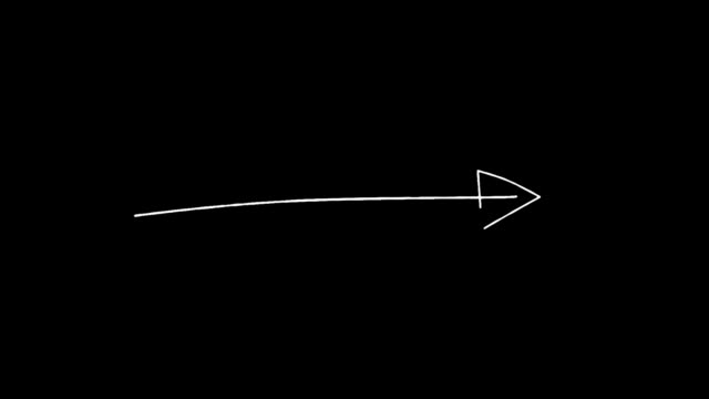 Fast gradual appearance of a drawn white arrow on a black background HD