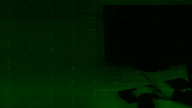 Fast hands programmer enter code on keyboard, Green background