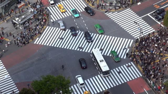 fast motion of shibuya pedestrian crossing,car traffic, tokyo, japan - 澀谷交叉點 個影片檔及 b 捲影像