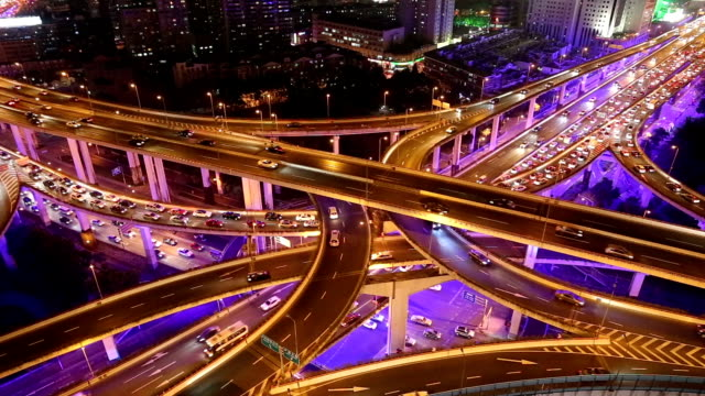 Fast Motion - Shanghai Highway at Night video