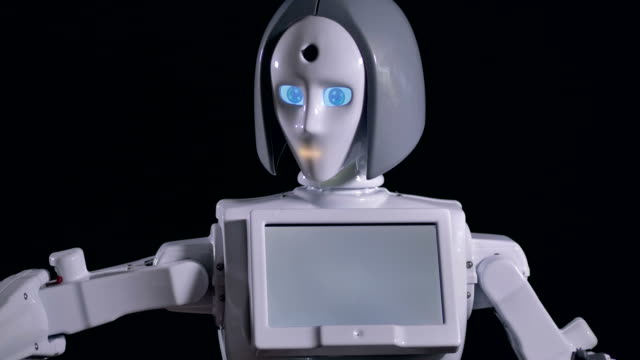 A fast motion with a robot gesturing and nodding. video