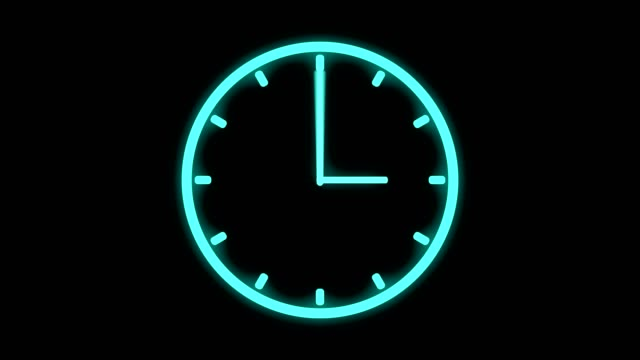 fast moving clock neon bright glowing spinning animation 3d rendering - clock стоковые видео и кадры b-roll