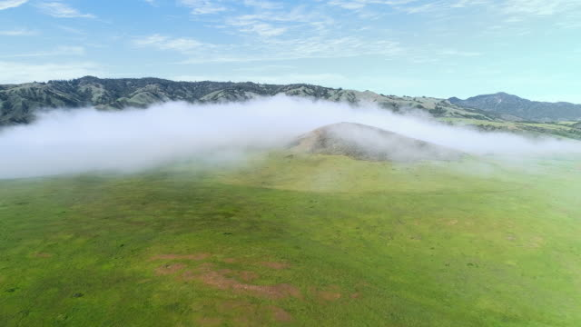 Fast moving low cloud coming from the Pacific Ocean around the hills in San Simeon, California, nearby Cabrillo Highway, and Arroyo Del Oso. The windy sunny spring day. Aerial drone video with the backward camera motion.