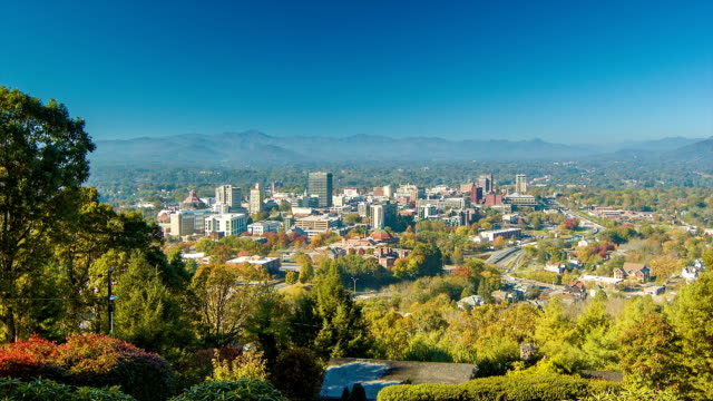 Fast Panning View of Asheville City Downtown from Town Mountain video